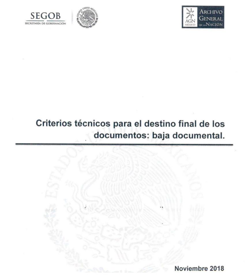 Criterios técnicos para el destino final de los documentos: baja documental